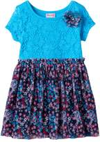 Nannette Toddler Girl Lace Front Patterned Dress