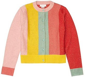 Stella McCartney Kids Lurex Knit Cardigan with Stripes (Toddler/Little Kids/Big Kids) (Multi) Girl's Clothing