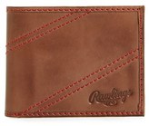 Rawlings Sports Accessories Men's Two Strikes Leather Bifold Wallet - Brown