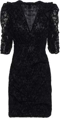 Maje Ruched Flocked Lace Mini Dress