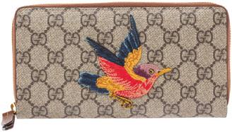Gucci Beige GG Supreme Coated Canvas Bird Zip Around Wallet