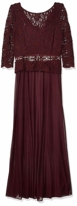 Cachet Women's Lace Gown with Beaded Waist