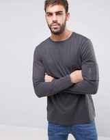 New Look Long Sleeve Top With MA1 Detail In Gray