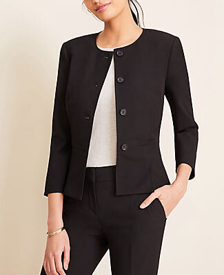 Ann Taylor The Petite Pleated Crewneck Jacket in Seasonless Stretch