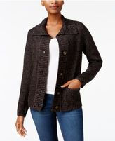 Karen Scott Foldover-Collar Marled Cardigan, Created for Macy's