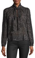 Rebecca Taylor Snow Dot Tie-Neck Blouse, Black