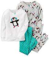 Carter's 4-Piece Penguin Pajama Set in Grey