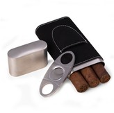 Black Leather 3-Cigar Case & Cutter