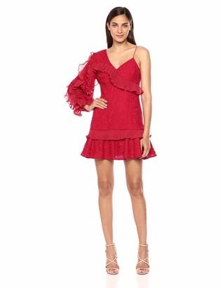 Keepsake Women's Timeless Asymmetric Sleeve Lace Mini Dress