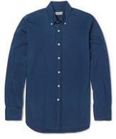 Canali - Slim-fit Button-down Collar Printed Cotton Shirt
