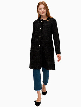 Kate Spade Pearl Button Sparkle Tweed Coat