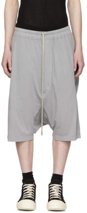 Rick Owens Grey Drawstring Pods Shorts