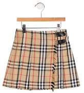 Burberry Girls' Pleated House Check Skirt