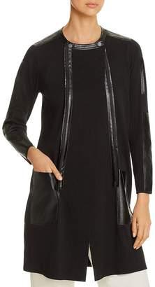 Nic+Zoe Faux-Leather-Trim Knit Jacket