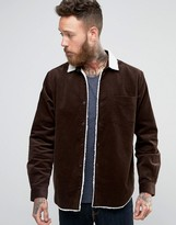 Asos Cord Overshirt With Borg Collar In Brown