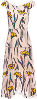 Thumbnail for your product : Roland Mouret Pleated Fil Coupe Organza Midi Dress