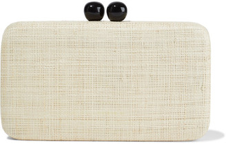 Kayu Dottie Woven Straw Box Clutch