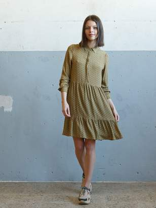 Indi & Cold - Olive Green Viscose Two Tone Print Loose Shirt Dress - viscose | olive green | s - Olive green