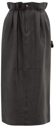 Miu Miu Paperbag-waist Leather Midi Skirt - Black