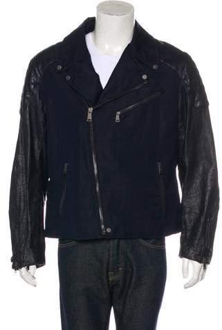 Ralph Lauren Black Label Linen and Leather Biker Jacket
