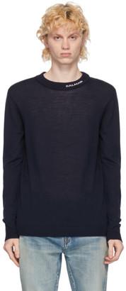 Balmain Navy Wool Logo Crewneck Pullover