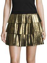 BCBGMAXAZRIA Zana Metallic Tiered Pleated Skirt