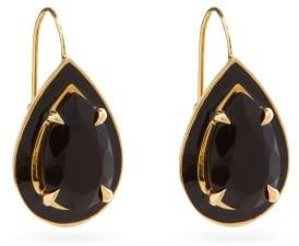 Alison Lou Lab-onyx, Enamel And 14kt Gold Drop Earrings - Black