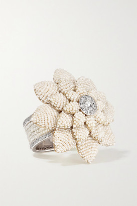 Bina Goenka 18-karat Yellow And White Gold, Pearl And Diamond Ring