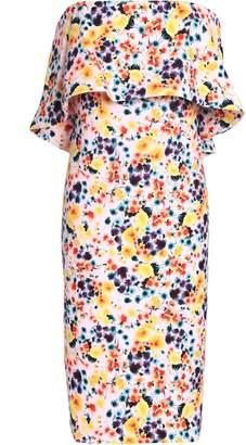 Badgley Mischka Strapless Layered Floral-print Crepe Dress