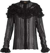 DODO BAR OR Suzie ruffle-trimmed sheer striped chiffon blouse