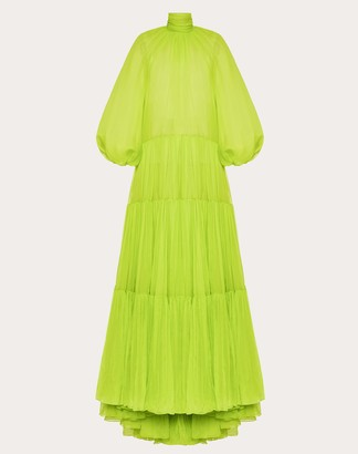 Valentino Technical Georgette Evening Dress Women Lime Elastane 100% 38