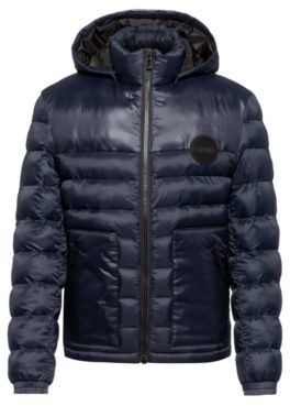 HUGO BOSS Slim-fit padded jacket with detachable logo-print hood
