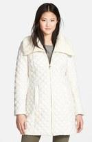 Via Spiga Knit Collar Quilted Front Zip Coat