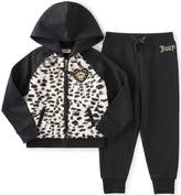 Juicy Couture Girls' 2 Piece Fleece Hooded Jacket with Faux Fur and Pant Set