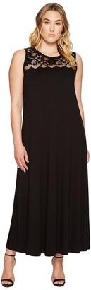Karen Kane Women's Plus Size Lace Yoke Maxi Dress