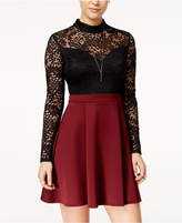 B. Darlin Juniors' Lace Mock-Neck Fit & Flare Dress