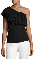 Rebecca Taylor One-Shoulder Ruffled Jersey Top