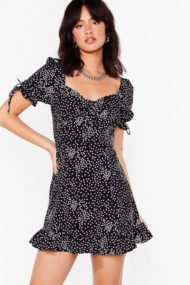 Nasty Gal Womens Polka Dot Square Neck Mini Dress - Black