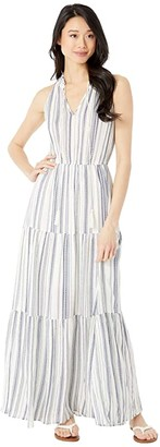 American Rose Britta Keyhole Striped Maxi Dress (Natural/Navy) Women's Dress