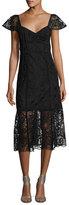 Nanette Lepore Firefly Cap-Sleeve Lace Midi Dress, Black