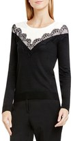 Vince Camuto Lace Trim Colorblock Sweater (Regular & Petite)