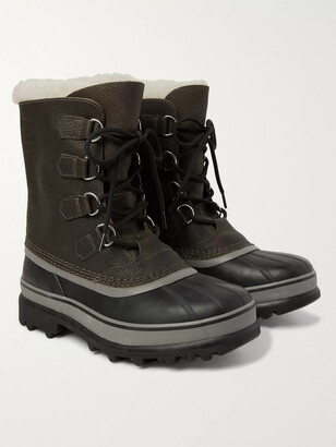 Sorel Caribou Wool-Lined Full-Grain Leather Boots - Men - Brown
