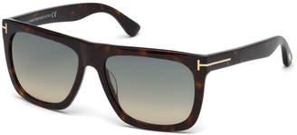 Tom Ford Morgan Thick Square Acetate Sunglasses, Tortoiseshell