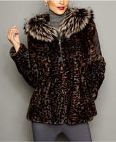 The Fur Vault Animal-Print Mink Fur Fox-Trim Jacket