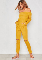 Missy Empire RiRi Mustard Off The Shoulder Jumpsuit