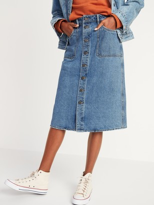 Old Navy Mid-Rise Button-Front Midi Jean Skirt for Women