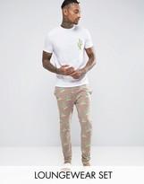 Asos Loungewear Pajama Set With Cactus Print