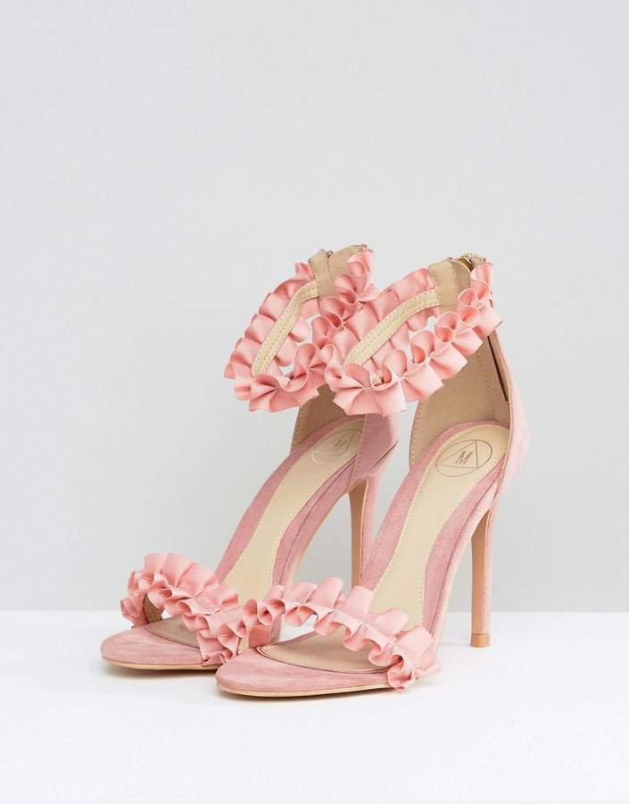 Missguided Ruffle Barely There Heeled Sandal