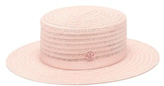Maison Michel Kiki Hemp-straw Boater Hat - Light Pink