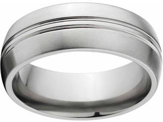 Online Brushed 8mm Titanium Wedding Band with Comfort Fit Design